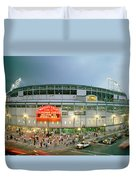 High Angle View Of Tourists Duvet Cover