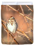 House Finch Tiny Bird Perched On A Tree Duvet Cover