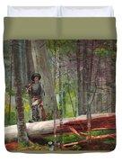 Hunter In The Adirondacks Duvet Cover