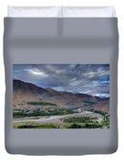 Indus River And Kargil City Leh Ladakh Jammu Kashmir India Duvet Cover