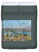 Istanbul Turkey Cityscape Digital Watercolor On Photograph Duvet Cover