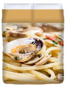 Italian Spaghetti And Clams Made In Naples Duvet Cover