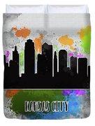 Kansas City Skyline Silhouette Duvet Cover