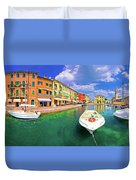 Lazise Colorful Harbor And Boats Panoramic View Duvet Cover