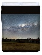 Milky Way Over A Farm Shed Duvet Cover