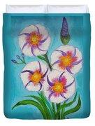 4 Morning Glories Flowers  Duvet Cover