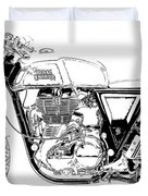 Motorcycle Art, Black And White Duvet Cover