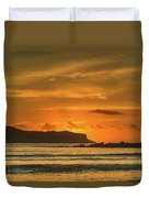 Orange Sunrise Seascape And Silhouettes Duvet Cover