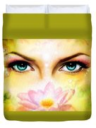 Pair Of Beautiful Blue Women Eyes Beaming Up Enchanting From Behind A Blooming Rose Lotus Flower Duvet Cover