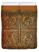 4 Panels Buddhas Wall Carving With Antique Filter Duvet Cover