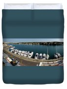 panoramic town 1 - Panorama of Port Mahon Menorca Duvet Cover