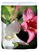 Pink Splash Variegated Weigela Duvet Cover