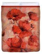 Poppy Flowers Handmade Oil Painting On Canvas Duvet Cover