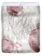 Rose Gold Christmas Baubels Duvet Cover