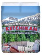 Scenery Around Alaskan Town Of Ketchikan Duvet Cover