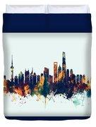 Shanghai China Skyline Duvet Cover