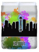 Seattle Skyline Silhouette Duvet Cover