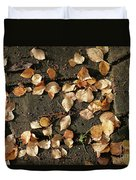 Silver Birch Leaves Lying On A Brick Path In A Cheshire Garden On An Autumn Day   England Duvet Cover