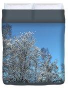 Snowy Trees Against A Blue Sky Duvet Cover