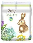 Spring Rabbit And Flowers Duvet Cover