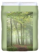 Stunning Colorful Vibrant Evocative Autumn Fall Foggy Forest Lan Duvet Cover
