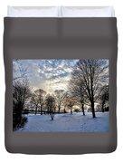Sunset Over Obear Park In Snow Duvet Cover