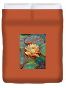 Teal And Peach Waterlilies Duvet Cover