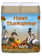 Thanksgiving Ducks Duvet Cover