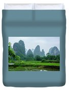 The Beautiful Karst Rural Scenery In Spring Duvet Cover