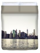 View Of Lower Manhattan Skyscrapers And Huge Sky Duvet Cover