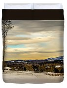 Winter Landscape And Snow Covered Roads In The Mountains Duvet Cover