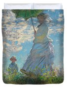 Woman With A Parasol - Madame Monet And Her Son Duvet Cover