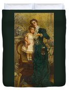 Woman With Child And Goldfish Duvet Cover