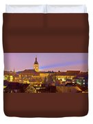 Zagreb Historic Upper Town Night View Duvet Cover