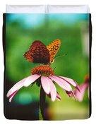 #416 14a Butterfly Fritillary, Coneflower Lunch Break Good Till The Last Drop Duvet Cover