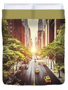 42nd Street In New York During The Day  Duvet Cover