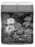 4445- Lily Pads Black And White Duvet Cover