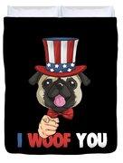 4th Of July Usa Indepedence Day Patriotic Uncle Sam Pug Dog Duvet Cover