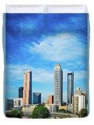 Atlanta Downtown Skyline With Blue Sky Duvet Cover