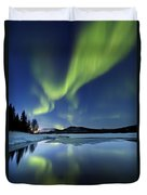 Aurora Borealis Over Sandvannet Lake Duvet Cover