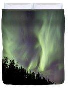 Aurora Borealis Over Trees, Yukon Duvet Cover