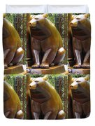 Bronze Statue Sculpture Of Bear Clapping Fineart Photography From Newyork Museum Usa Fineartamerica Duvet Cover