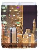 Chicago Illinois Tilt Effect Cityscape At Night Duvet Cover