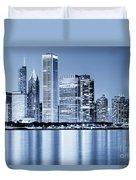 Chicago Skyline At Night Duvet Cover