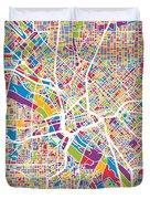 Dallas Texas City Map Duvet Cover