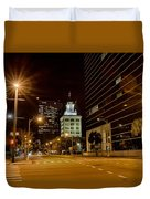 Downtown Tampa Florida Skyline At Night Duvet Cover