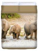 Elephants At The Bank Of Chobe River In Botswana Duvet Cover