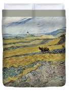 Enclosed Field With Ploughman Duvet Cover