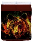 head of mighty brown bear, oil painting on canvas and graphic collage. Eye contact. Duvet Cover
