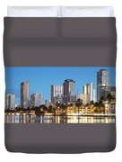 Honolulu Skyline Panorama Duvet Cover
